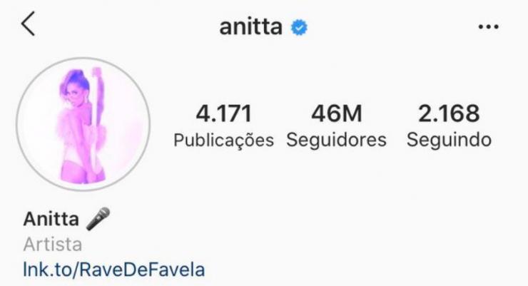 Anitta bate a marca de 46 milhões de seguidores no Instagram
